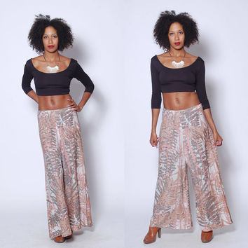 Vintage 60s WIDE LEG Pants JUNGLE Print Bell Bottoms Graphic Print Flares Printed Metallic Pants