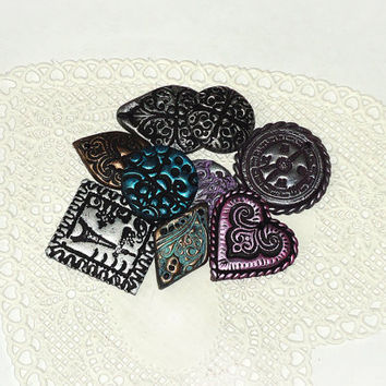 4 pcs of Small Polymer clay details, Copper, Silver, Metallic