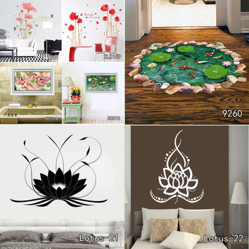 Indian Namaste Words Religion Wall Decal Vinyl Lotus Yoga Sticker Buddha Ganesha Home Decor Bedroom Flower Mural Free Shipping