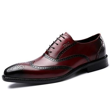 Genuine Leather Brogue Wingtip Lace Up Oxford Shoes