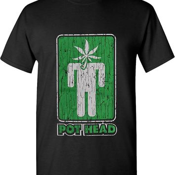 Pot Head Marijuana Leaf Head 420 Solid Graphic T-shirts