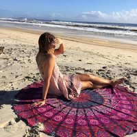 Indian Mandala Round Roundie Beach Throw Tapestry Hippy Hippie Boho Gypsy Cotton Tablecloth Beach Towel , Round Yoga Mat , Wall Hanging