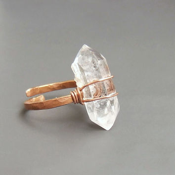 Herkimer gemstone style ring Rough rock crystal copper ring, Raw natural adjustable ring, geometric tribal jewely