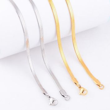 Free Chain Stainless Steel Necklace For Women Men Gold and Silver Color Fashion Chain Jewelry Gift