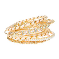 Gold, Pearl, Iridescent Crystal and Pink Thread Wrapped Bangle Bracelets Set of 8
