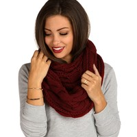 Sale-burgundy Cable Knit Infinity Scarf