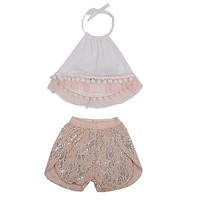 Newborn Kids Baby Girl Clothes Set Halter Tassel Loose Sleeveless Tops Lace Shorts Bottom 2pcs Set Toddler Gir Clothing Summer
