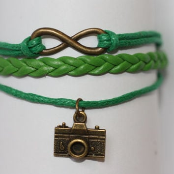 OPEN~ Handmade Infinity Camera Charm Green Leather Wedding Photographer Gift Multilayer Handcrafted Bracelet ilovecheesygrits
