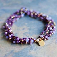 Boho Beaded Anklet, Purple Anklet, Bohemian Jewelry, Crochet Anklet, A-002