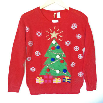 H&M Christmas Tree Red Tacky Ugly Sweater