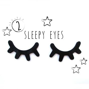 2pcs 3D Wooden Eyelash Home Furnishing Wall Decoration Closed Eye Pose Ornament New kids present baby room decorative Sticker