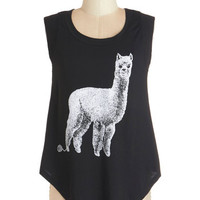 ModCloth Quirky Mid-length Cap Sleeves Alpaca Your Bags Tee