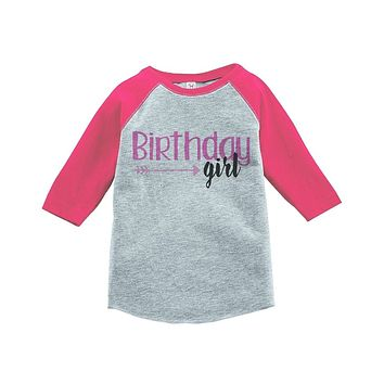 Custom Party Shop Girls' First Birthday ArrowsVintage Baseball Tee 2T Grey and Pink