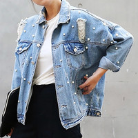 Denim Jacket Women Thin Rhinestone Pearl Beaded Denim Ladies Elegant Vintage Hole Jacket Coat  Casacos Feminino