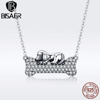 BISAER Real 925 Sterling Silver Lovely Animal Cute Dog & Bone Pendants Doggy's Dream Pendants Necklace Silver Jewelry ECN092