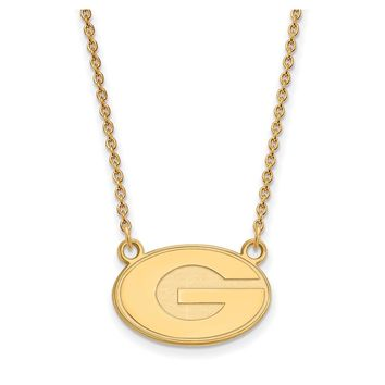 NCAA 14k Yellow Gold U of Georgia Small 'G' Oval Pendant Necklace