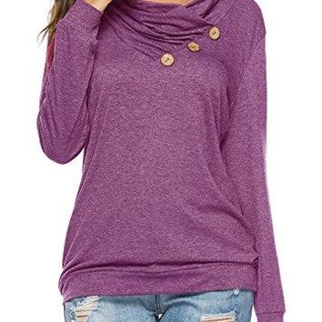 KISSMODA Women's Casual T-Shirt Long Sleeve Button Cowl Neck Tunic Sweatshirt Tops Blouse