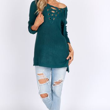 Knit Lace-Up Sweater Teal