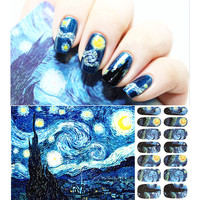 Van Gogh Starry Night Romantic Nail Art Nail Stickers, High Quailty Nail Tools Gel Decals Makeup French Manicure free shipping