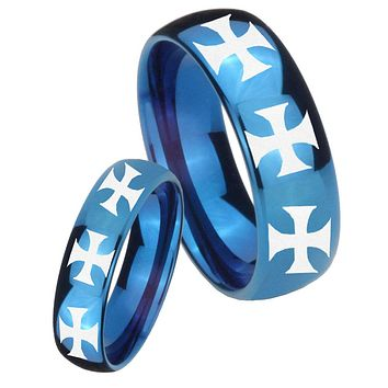 His Hers Mirror Blue Dome Multiple Maltese Cross Tungsten Carbide Wedding Rings Set