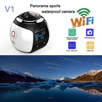 HD 360 Camera Ultra Mini Panoramic Camera WIFI 16MP 3D Waterproof Sports Camera Driving VR Action Camera Action Video Cam 30m