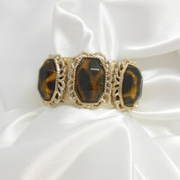 Vintage Bracelet Silver and Brown Bangle Cuff with Slide Clasp