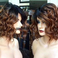 USA // Heat Safe Short Ombre Brown Auburn Bob LACE FRONT & Part Wavy Wig w/ Curly Dark Root