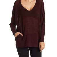 Burgundy Marled Dolman Sleeve Top with Pockets by Charlotte Russe