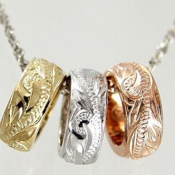 SOLID 14K TRICOLOR YELLOW ROSE WHITE GOLD BARREL ENGRAVE HAWAIIAN SCROLL PENDANT