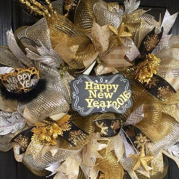 New Years Deco Mesh Wreath, New Years  Eve deco mesh wreaths, New Year's wreath, New Year's Eve wreath, New Years 2016 decor