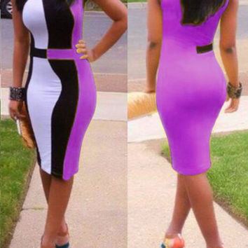 Color Block Sleeveless Midi Dress