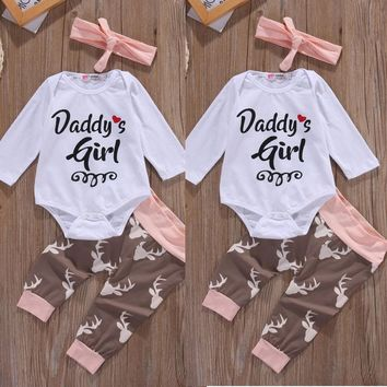 Christmas Newborn Infant Early Baby Girl Clothes Set Tops Pants Bodysuit Outfits Headband 3pcs Cute Baby Girls Clothing