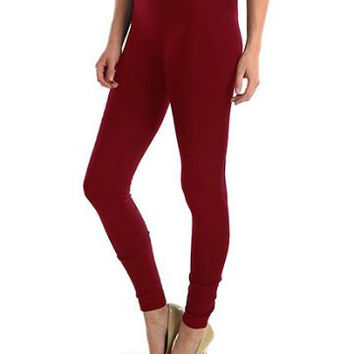 Burgundy Fleece Leggings