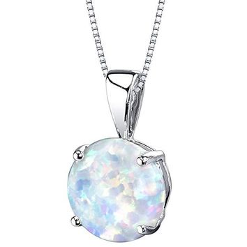 Minimalist 2.00 CTTW Oceanic Opal Pendant Necklace in 14K Gold Plating - Three Options Available
