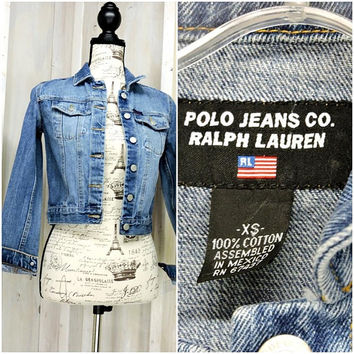 Cropped denim jacket XS / 90s Polo Ralph Lauren jean jacket / womens denim crop jacket