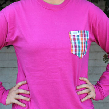 The Anderson Unisex Long Sleeve Tee Shirt in Raspberry with Pumpkin/Green Check Pocket by the Frat Collection