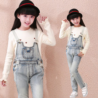 Girls Jeans Overalls For Girl Denim 2015 Autumn Pocket Jumpsuit Bib Pants Children's Jeans Baby Girls Overall For Kids 3-18Years