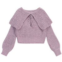 Purple Lapel Lace Up Front Crop Knit Jumper