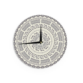 "Famenxt ""Swadesi Soft Boho Mandala"" Beige Illustration Wall Clock"