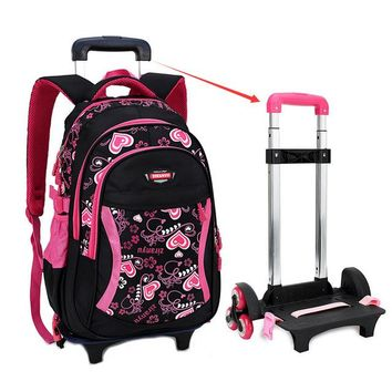 School Backpack MAGIC UNION Triple-wheel Trolley Backpack For Children Fashion Heart-shaped Pattern School Bag Detachable Backpack For Girls AT_48_3