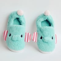 FunShop Women's Elephant Shape Blue Indoor Slipper F1104