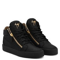 Giuseppe Zanotti Gz Kriss Black Crocodile Embossed Calfskin Sneaker With Logo