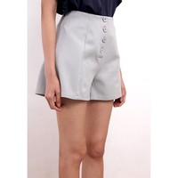 High Waisted Button-Front Hot Pants (BTBT03099-GRY)