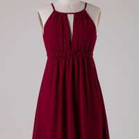 Chiffon Dress with Flower Band - Wine
