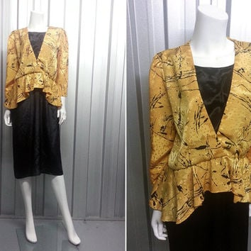 Vintage 80s Peplum Dress Yellow Peplum Top New Wave Wrap Front Puff Sleeves Nipped Waist Gold Tone Yellow and Black 1980s Clothing 80s Women