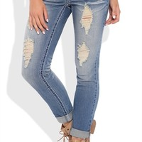 Almost Famous Destructed Skinny Jeans with Rolled Hem