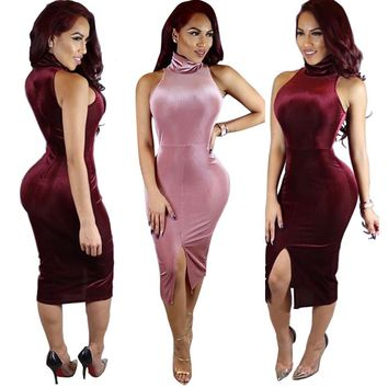 High Neck Sleeveless Front Split Short Bodycon Dress