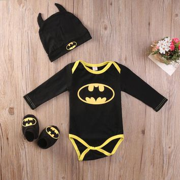 2016 Fashion Newborn Baby Boy Clothes Batman Cotton Romper+Shoes+Hat 3Pcs Outfits Set