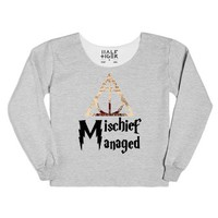 Mischief Managed with Deathly Hallows-Female Heather Grey T-Shirt