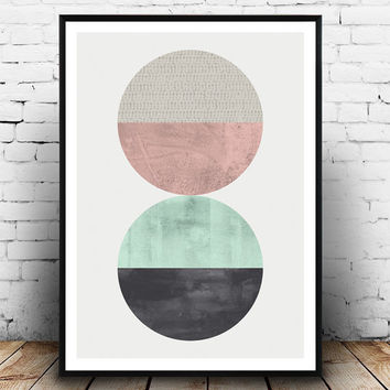 Circle print, Minimalist print, Watercolor art, Minimalist art, Geometric print, Nordic design, abstract poster, mint color, pink art,